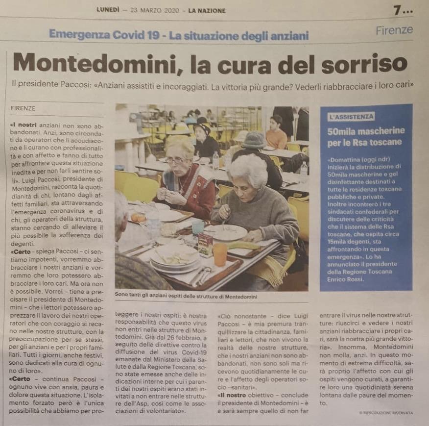 Montedomini, la cura del sorriso_La Nazione_23 03 2020.JPG