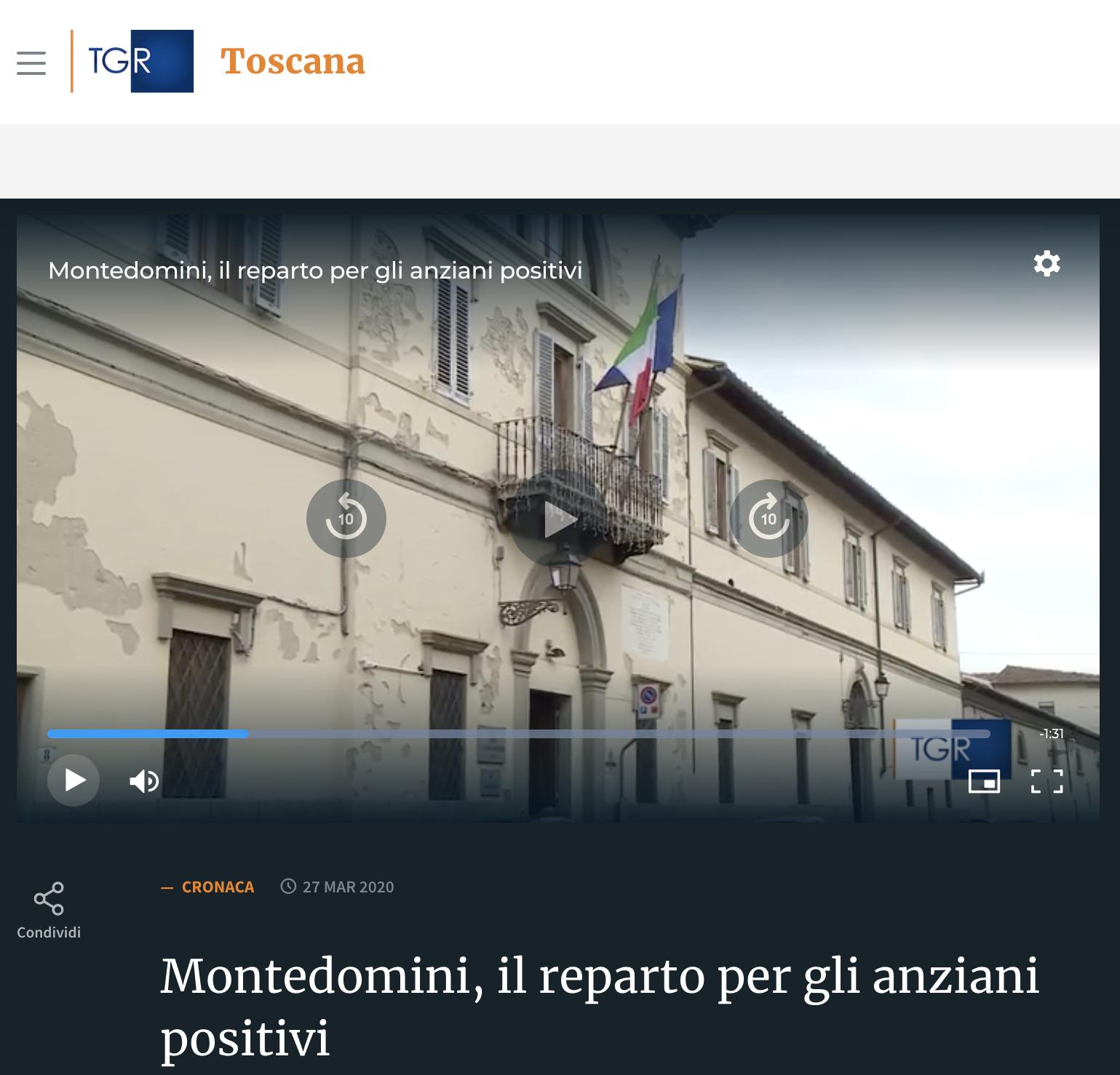 Montedomini, il reparto per gli anziani positivi_27 03 2020.png